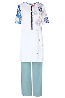Ivory Floral Printed and Thread Work Kurta