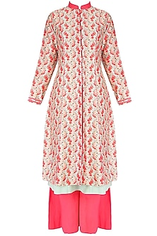 Coral And Mint Printed Kurta With Blue Inner And Coral Palazzos
