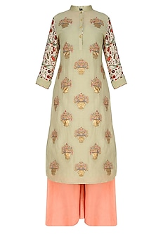Pista Green Embroidered Kurta With Peach Sharara Pants
