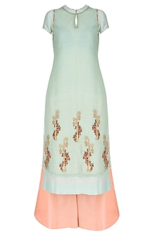 Mint And Peach Embroidered Kurta Palazzo Set With Printed Inner And Printed Dupatta