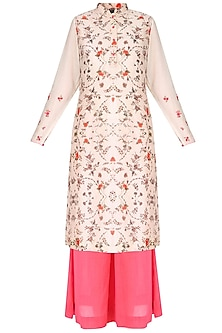 Light Pink And Coral Floral Print Embroidered Kurta With Ivory Inner And Palazzo Pants