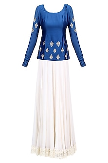 Cobalt Blue Floral Embroidered Short Kurti and Ivory Sharara Pants Set