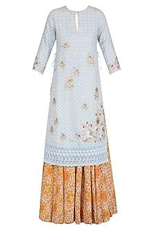 Powder Blue Floral Work Short Kurta and Orange Sharara Pants Set