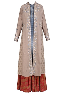 Beige Floral Embroidered Jacket, Grey Inner and Red Sharara Pants Set