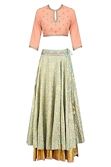 Peach Floral Motifs Blouse and Mint Green Chanderi Flared Skirt Set