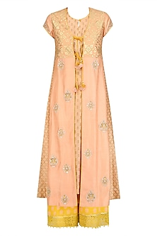 Peach Floral Embroidered Anarkali, Inner and Yellow Pants Set