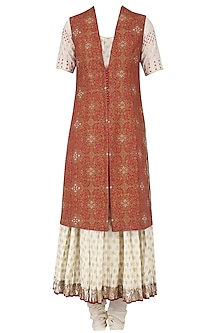 Off White Anarkali Kurta, Churidaar and Red Floral Embroidered Jacket Set