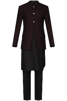 Maroon and Black Textured Bandhgala Jacket with Kurta and Pants