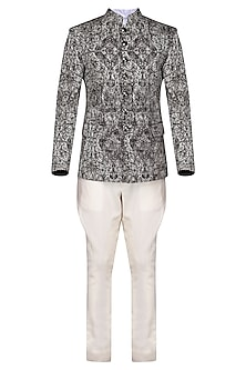 Black and White Distressed Print Bandhgala Jacket