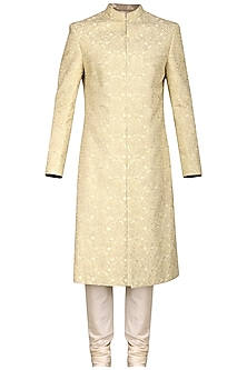 Ivory and Gold Embroidered Sherwani Set