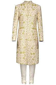 Peach and Ivory Embroidered Sherwani Set
