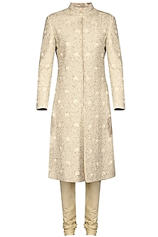 Ivory Thread Embroidered Sherwani Set