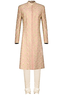 Peach and Light Gold Embroidered Sherwani Set