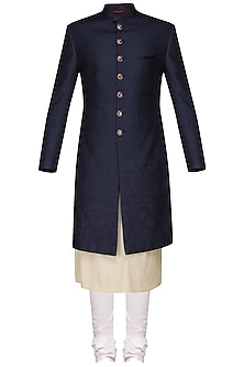 Navy Blue Quilted Sherwani with Ivory Kurta and Churidar Pants