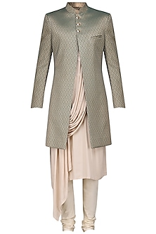 Green and Gold Sherwani with Peach Draped Kurta and Churidar Pants