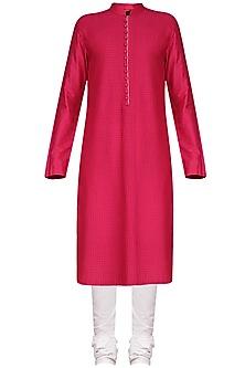 Fucshia Pink Pintucks Kurta with Ivory Churidar Pants