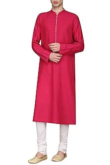 Fucshia Pink Pintucks Kurta with Ivory Churidar Pants by Anuj Madaan