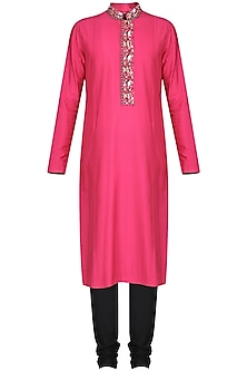 Fucshia Pink Embroidered Kurta with Black Churidar Pants