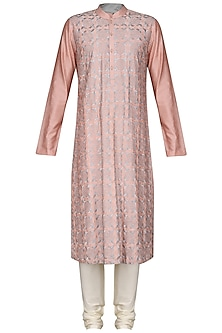 Peach Jaal Work Kurta with Ivory Churidar Pants