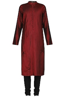 Maroon and Black Frayed Kurta with Churidar Pants