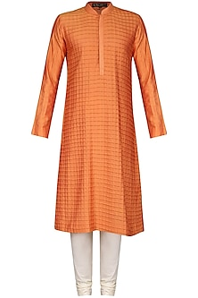 Orange Pintucks Kurta with Ivory Churidar Pants