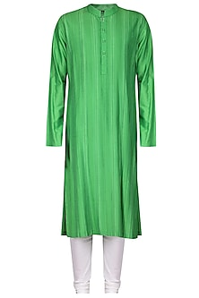 Green Thread Work Kurta with Ivory Churidar Pants