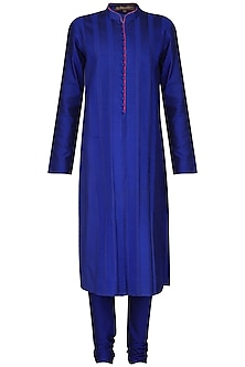 Royal Blue Pleats Kurta with Churidar Pants