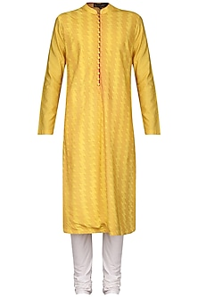 Yellow Pintucks Kurta with Ivory Churidar Pants