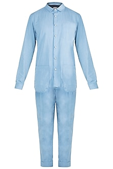 Ice Blue Denim Shirt With Pants