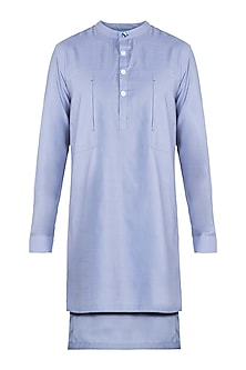 Vapour Blue Patched Pocket Kurta by Ananke