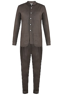 Brown Melange Shirt With Pant