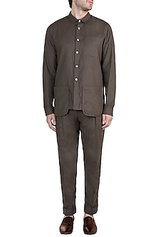 Brown Melange Shirt With Pant by Ananke