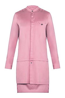 Pink Longline Layered Kurta by Ananke