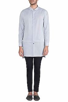 Black & White Long Line Kurta Shirt by Ananke