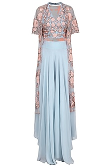 Pastel Blue Embroidered Jacket with Blouse and Palazzo Pants
