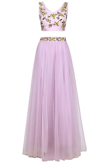 Lavender Floral Embroidered Lehenga Set