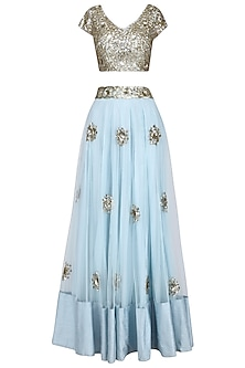 Pastel Blue and Gold Sequins Embroidered Lehenga Set