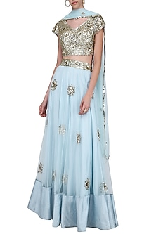 Pastel Blue and Gold Sequins Embroidered Lehenga Set by Ank by Amrit Kaur
