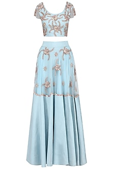 Pastel Blue Sequins Embroidered Lehenga Set