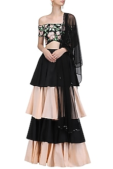 Black and Peach Off Shoulder Embroidered Blouse with Ruffled Lehenga Set by Ank by Amrit Kaur