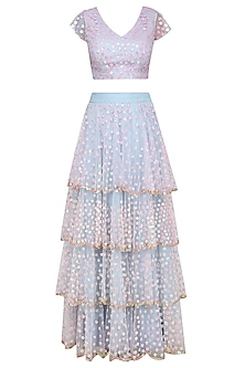 Pastel Blue and Pink Floral Embroidered Tiered Lehenga Set