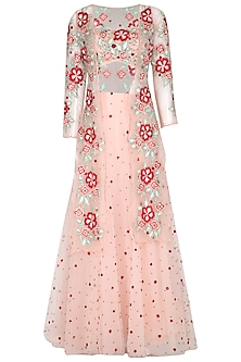 Pink Embroidered Blouse With Palazzo Pants & Jacket by Ank By Amrit Kaur