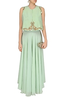 Pistachio Floral Embroidered Cape  and Palazzo Pants Set by Ank By Amrit Kaur