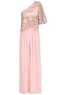 Rose Pink Floral Embroidered One Shoulder Cape  and Palazzo Pants Set