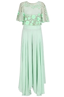 Pistachio Floral Thread Embroidered Cape  and Palazzo Pants Set by Ank By Amrit Kaur