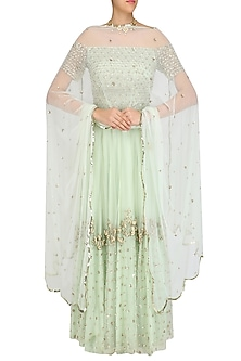 2d9f9063749dd9 Pistachio Floral Embroidered Off Shoulder Blouse and Lehenga Set by Ank By Amrit  Kaur