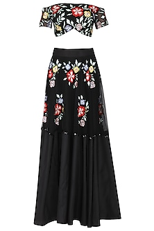 Black Floral Embroidered Off Shoulder Blouse with Lehenga Set
