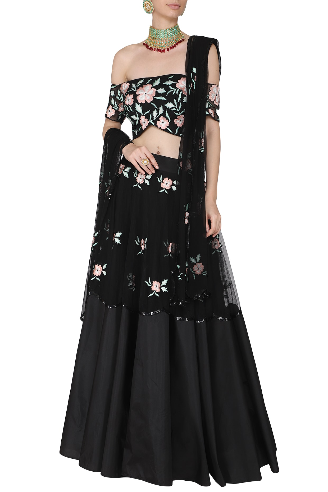 4559581a7f67e2 Black and peach embroidered off shoulder blouse with lehenga set available  only at Pernia's Pop Up Shop.