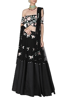 0f7cb2fade Black and Peach Embroidered Off Shoulder Blouse with Lehenga Set by Ank by  Amrit Kaur
