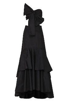 Black Bow Blouse with Ruffle Lehenga Skirt